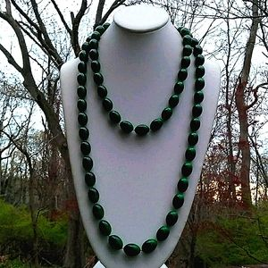 VINTAGE Gorgeous Green Ombre Bead Necklace LONG
